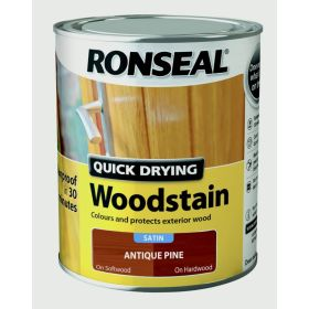 Ronseal Quick Drying Woodstain Satin 750ml Antique Pine 324390