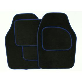 Streetwize Velour Carpet Mat Sets with Coloured Binding - 4 Piece Black With Blue Piping 650328