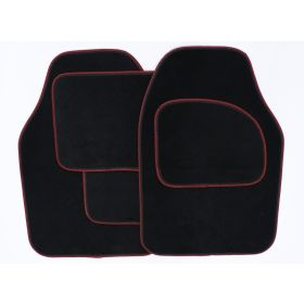 Streetwize Velour Carpet Mat Set with Coloured Binding - 4 Piece Black/Red 650278
