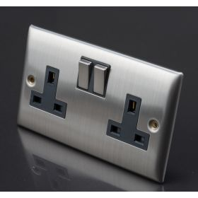 Lyvia Venetian Switch Socket 13A 2 Gang With Black Inserts 313581