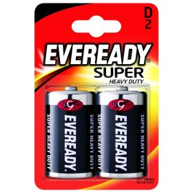 Eveready Super Heavy Duty Batteries D Pack 2 318557
