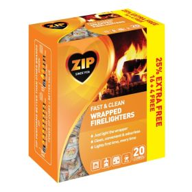 Zip Fast & Clean Wrapped Firelighters Pack 16 Plus 25% Free 328478