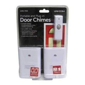 Uni-Com Portable and Plug in Twin Pack Door Chime 330209