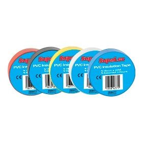 SupaLec PVC Insulation Tapes Assorted 20 Metre Pack 10 358477