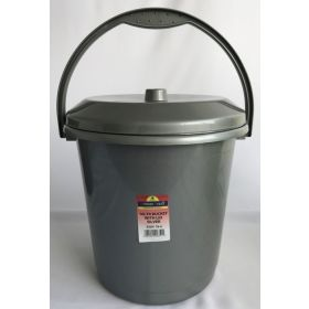 TML Bucket With Lid 10L Silver 367885