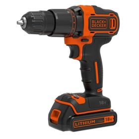 Black & Decker 18V Lithium-ion 2 Gear Hammer Drill + 400mA charger + 1 battery + Kitbox 369045