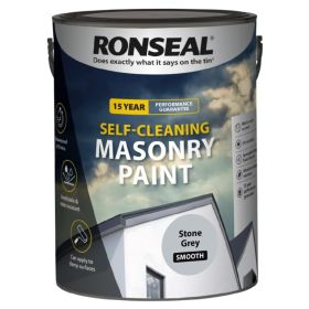 Ronseal Self Cleaning Smooth Masonry Paint 5L Stone Grey 102544