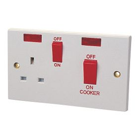 Dencon 45A Cooker Panel with 13A Socket and Pilot Lamp to BS4177 Bubble Packed 695564