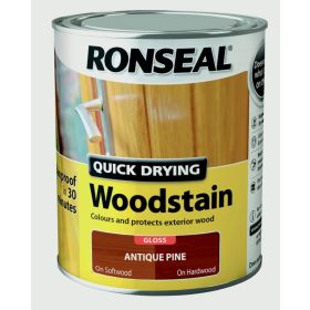Ronseal Quick Drying Woodstain Gloss 750ml Antique Pine 453600