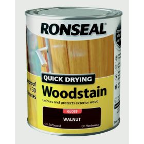 Ronseal Quick Drying Woodstain Gloss 750ml Walnut 452366