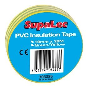 SupaLec PVC Insulation Tapes Green & Yellow 20 Metre Pack 10 703385