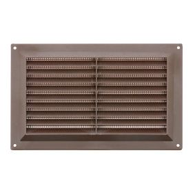 """Map Brown Louvred Vent (with Fixed Flyscreen) Opening Size: 9"""" x 6"""" - 229 x 152mm 376360"""