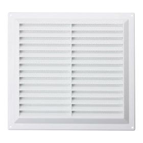 """Map White Louvred Vent (with Fixed Flyscreen) Opening Size: 9"""" x 9"""" - 229 x 229mm 492078"""
