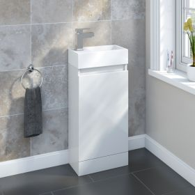 SP Epping Gloss White Floor Standing Unit 400mm W: 400mm H: 750mm D: 215mm 317544