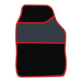 Streetwize Velour Carpet Mat Sets with Coloured Binding - 4 Piece Black/Red 650226