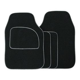 Streetwize Velour Carpet Mat Sets with Coloured Binding - 4 Piece Black With Grey Piping 650290